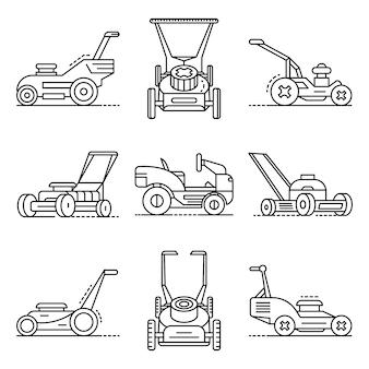 Conjunto de iconos de cortacésped. esquema conjunto de iconos de vector de cortadora de césped