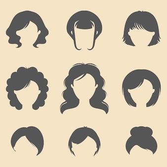 Conjunto de iconos de cortes de pelo de diferentes mujeres en estilo plano.