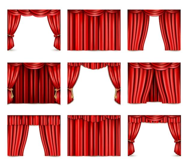 Conjunto de iconos de cortina de teatro