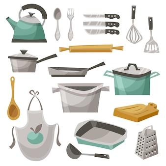Conjunto de iconos de cosas de cocina