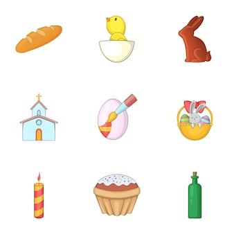 Conjunto de iconos de cosas de pascua, estilo de dibujos animados