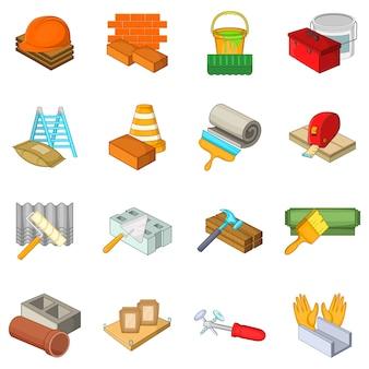 Conjunto de iconos de cosas de reparación, estilo de dibujos animados