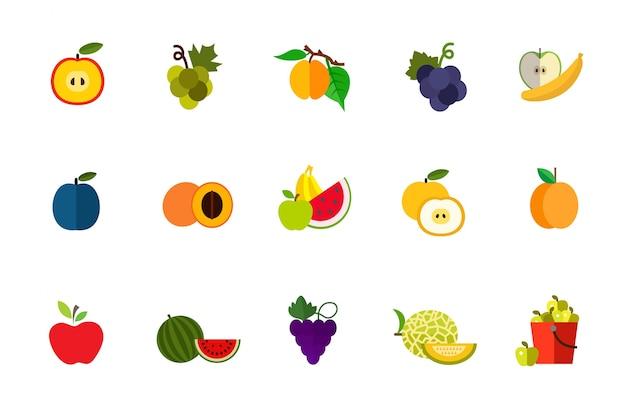 Conjunto de iconos de cosecha de frutas