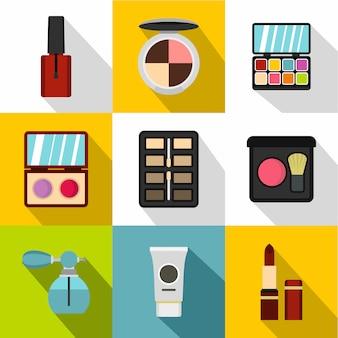 Conjunto de iconos de cosméticos, estilo plano