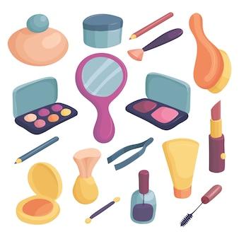 Conjunto de iconos de cosméticos. ilustración de dibujos animados de 16 iconos de cosméticos para web