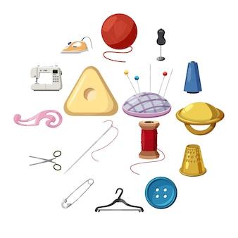 Conjunto de iconos de costura, estilo de dibujos animados
