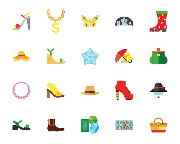 Conjunto de iconos creativos de zapatos y accesorios