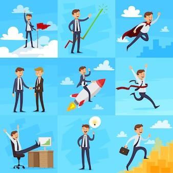 Conjunto de iconos de crecimiento de carrera