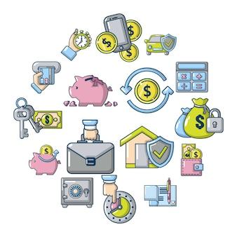 Conjunto de iconos de crédito, estilo de dibujos animados