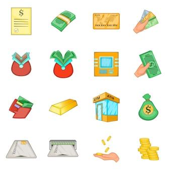 Conjunto de iconos de crédito de préstamo bancario