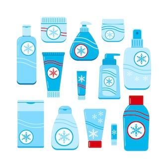 Conjunto de iconos de crema hidratante de mujer de cuidado de piel de invierno aislado sobre fondo blanco.