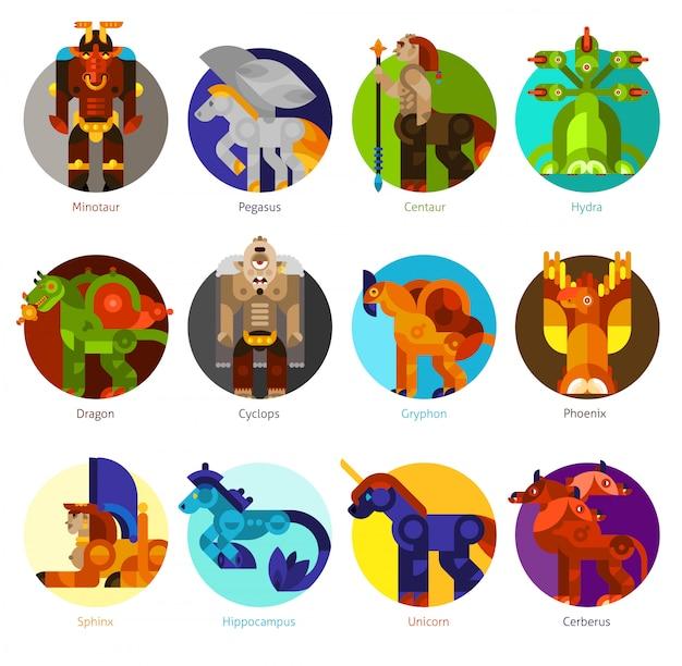 Conjunto de iconos de criaturas míticas