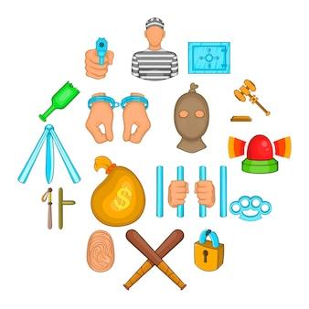 Conjunto de iconos de crimen, estilo de dibujos animados