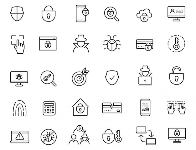Conjunto de iconos criminales lineales.