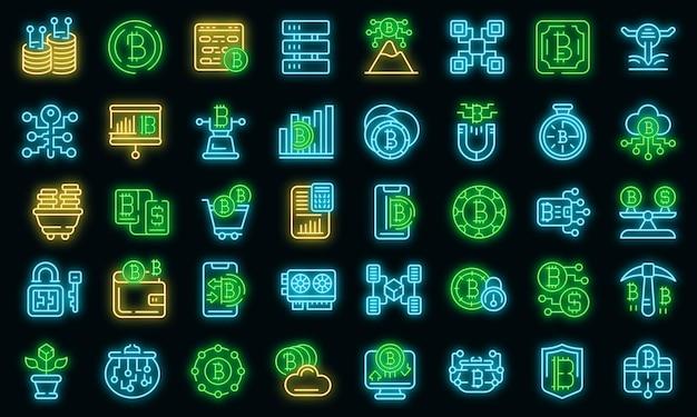 Conjunto de iconos de criptomoneda. esquema conjunto de iconos de vector de criptomoneda color neón en negro