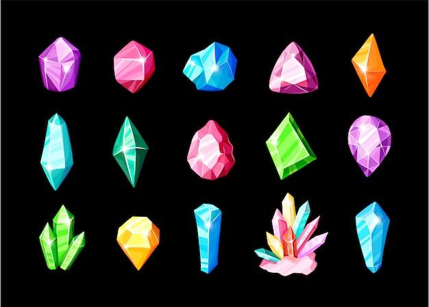 Conjunto de iconos: cristales o gemas de colores azul, dorado, rosa, violeta, arcoiris, colección de símbolos
