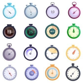 Conjunto de iconos de cronómetro, estilo de dibujos animados
