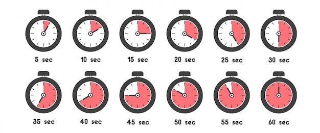 Conjunto de iconos de cronómetro con tiempo diferente. reloj deportivo con significado de tiempo de color rojo