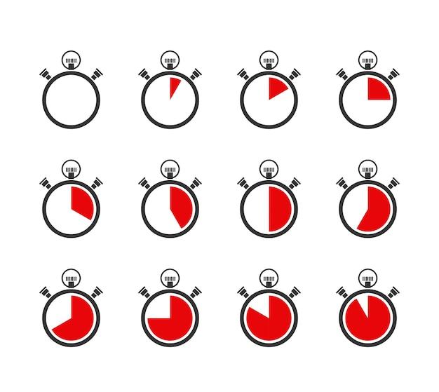 Conjunto de iconos de cronómetros o temporizadores vectoriales