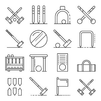 Conjunto de iconos de croquet, estilo de contorno