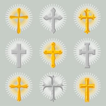 Conjunto de iconos de cruz de iglesia de oro y plata