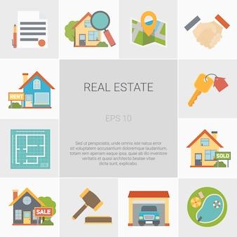 Conjunto de iconos cuadrados de bienes raíces