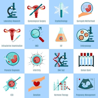 Conjunto de iconos cuadrados de inseminación artificial