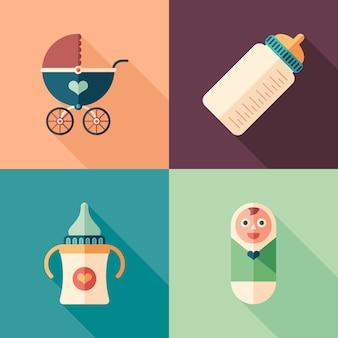 Conjunto de iconos cuadrados plana bebé colorido con largas sombras.