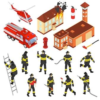 Conjunto de iconos de cuerpo de bomberos isométrica