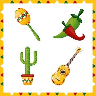 Conjunto de iconos de la cultura de méxico, ilustración