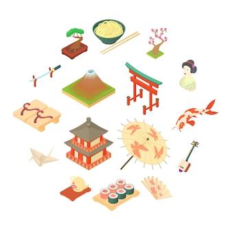 Conjunto de iconos de cultura tradicional de china, estilo de dibujos animados