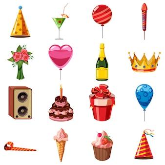 Conjunto de iconos de cumpleaños, estilo de dibujos animados