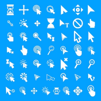 Conjunto de iconos de cursor del ratón, estilo simple