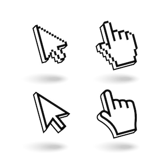Conjunto de iconos de cursores de píxeles