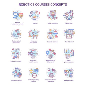 Conjunto de iconos de cursos de robótica.