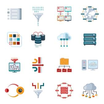 Conjunto de iconos de datos de filtrado plano coloreado aislado sobre fondo blanco.