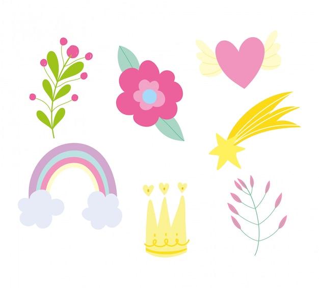 Conjunto de iconos de decoración de follaje arco iris flor corona corazón estrella follaje
