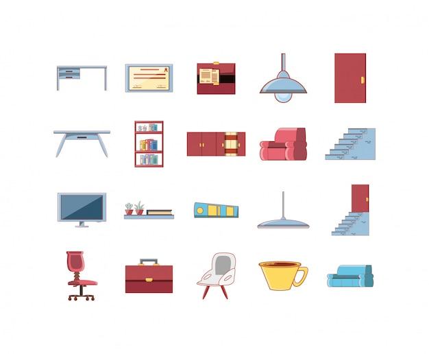 Conjunto de iconos de decoración de hogar y oficina aislado