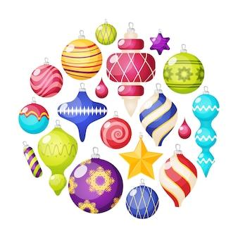 Conjunto de iconos de decoraciones navideñas