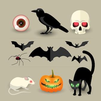 Conjunto de iconos decorativos aislados de halloween de calabaza murciélago cuervo cráneo araña gato negro y rata blanca de dibujos animados