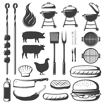 Conjunto de iconos decorativos de barbacoa