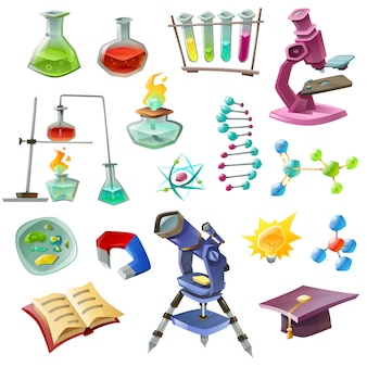 Conjunto de iconos decorativos de ciencia