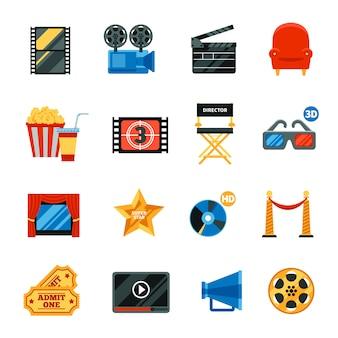 Conjunto de iconos decorativos de cine plano