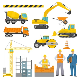 Conjunto de iconos decorativos de construcción