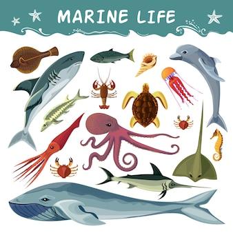 Conjunto de iconos decorativos de habitantes marinos