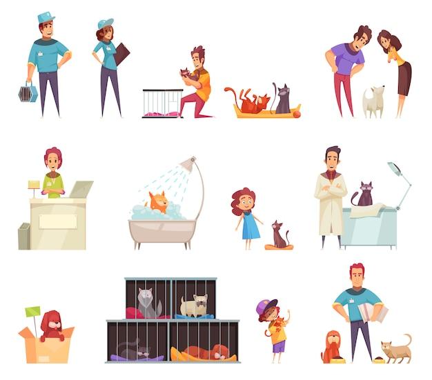 Conjunto de iconos decorativos para mascotas sin hogar con personas que cuidan a los animales en el hogar en una clínica de refugio y veterinaria aislada