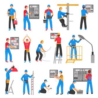 Conjunto de iconos decorativos personas eléctricas