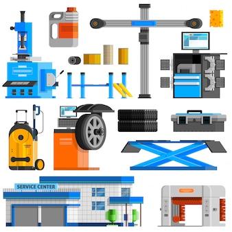 Conjunto de iconos decorativos planos de auto servicio