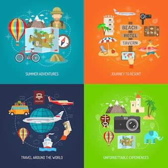 Conjunto de iconos decorativos planos de viaje