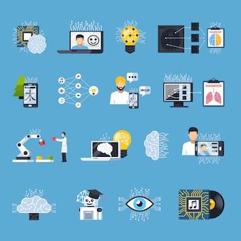 Conjunto de iconos decorativos de redes de mallas neuronales